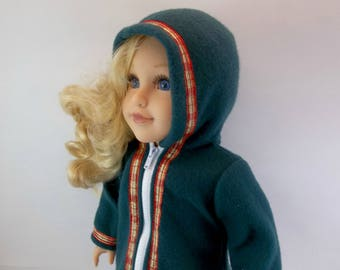 18 inch Doll Coat fits American Girl Doll Dark Green Hooded 3/4 length Winter Jacket Red & Gold Plaid Ribbon Trim  Toys Girl
