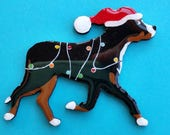 Greater Swiss Mountain Dog Christmas Pin, Magnet or Ornament-Free Shipping-Hand Painted- Free Personalization Available