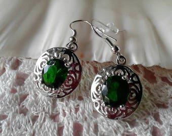 Vintage Green Crystal Earrings