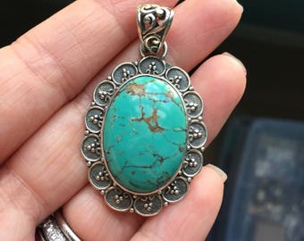 Turquoise Pendant - Sterling Silver - Vintage
