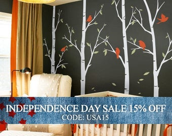 Independence Day Sale - Tree wall decals - Thin Birch Tree Wall Decals Sticker Set