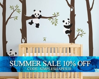 Tree with Pandas Wall Decal, Panda Wall Decal, Panda Tree for Baby Nursery, Kids or Children Room Decals