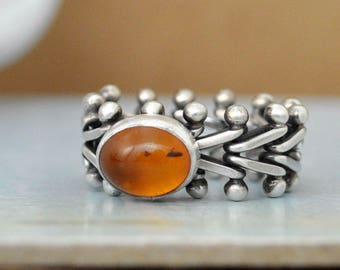 SILVER AMBER RING,  vintage flexible band oxidized sterling silver ring with natural untreated amber cab ring