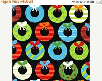 last call Jingle 2 by Ann Kelle and Robert Kaufman, Holiday Wreaths Bright 1/2 yd total