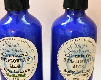 Sunflower & Aloe Natural Body Lotion-Choose Your Scent--Coconut or Vanilla Mint