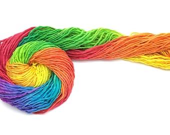 Handspun, hand painted rainbow yarn, bulky/chunky, merino wool - 97 yards, 2.6 ounces and 74 grams