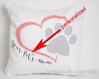 Personalized Pet Name Decorative Pillow Paw Print Heart Made in Canada