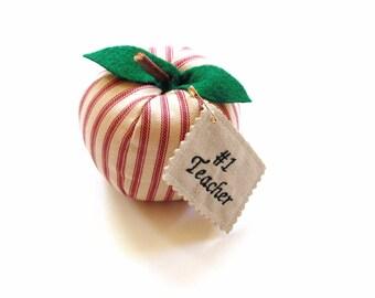 Apple sculpture, stuffed apple, fabric apple, red ticking fabric, teachers desk, back to school, teacher gift, personalized, classroom decor