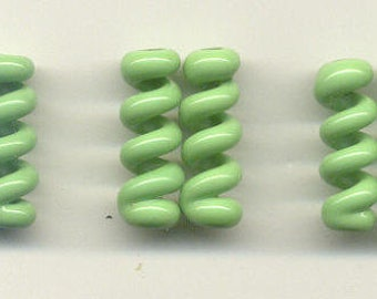 Tom's lampwork opaque nile green twist cylinder, drops, spacers 20mm, 2 beads, 1 pair, 96822-1