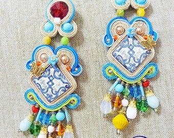 folk Tile Earrings, Soutache Earrings, chandeliers, azulejos tile sicily earrings, italian style, fiber art earrings, made in Italy, gitana