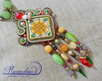 Tile necklace, folk necklace, soutache necklace pendant, azuleios pendant, gift for her, sicily pendant, beaded statement necklace