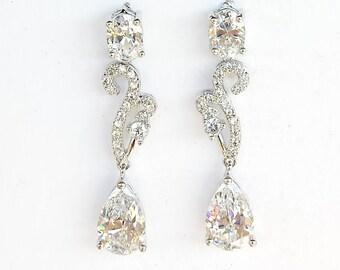 Crystal Silver earrings  Bridal tear drop dangle earrings Rhodium plated Crystal Wedding jewelry