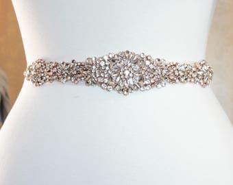 Rose Gold Crystal Wedding Sash Luxury rhinestone sash - SS10