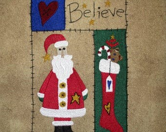 Primitive Country Santa Embroidered Large Quilt Block