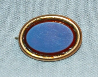 Antique Victorian Brooch, C Clasp Blue Red, Gold Tone Pin, Vintage  Old Jewelry