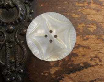 Vintage Intricate Carved Mother of Pearl Button  Large Victorian Carved  Crazy Quilt Embellishment
