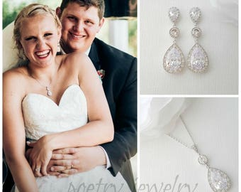 Bridal Jewelry Set, Crystal Wedding Earring and Necklace Set, Cubic Zirconia Set, Wedding Jewelry Set, Evana