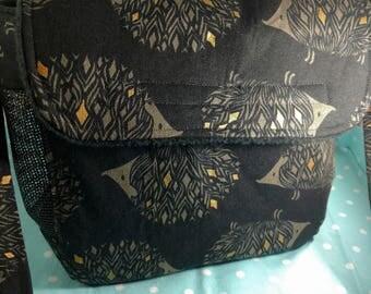 Happy hedgehog bag (black with gold hedgehogs)