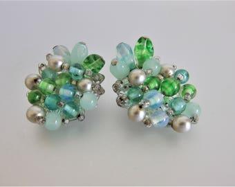 Vintage 1960's Green Glass Bead Earrings Japan