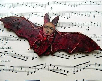 Halloween Bat, Vampire bat,Bat Magnet, Refrigerator Magnet, Gothic Bat, Bat wall hanging, Vampire Decor, Bat Decor, Mixed Media Bat, Spooky
