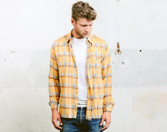 Vintage 60s Mod Plaid Shirt . Check Pattern Shirt Men's Yellow Vintage 1960s Shirt Boyfriend Gift Overshirt Hipster Outfit . size Large
