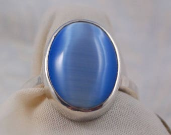 Blue Dale Stone and Sterling Silver Ring Size 8 1/4