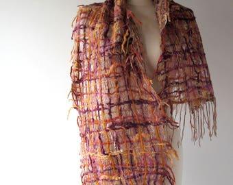 Felted scarf Nuno felted  scarf woven scarf  felt scarf purple beige scarf women woven scarf  by Galafilc