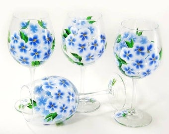 4 Hand Painted Blue Wildflower Glasses - Periwinkle Forget Me Not Flowers - Personalized Retirement Gifts Housewarming Gift Ideas
