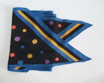 Vintage 1970's Scarf Polka Dots Purple Yellow Blue Black Bias Cut