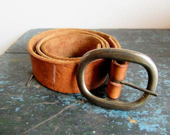 "Vintage Tooled Leather Belt 30"" Brown Women's Ladies Acorns, SALE"