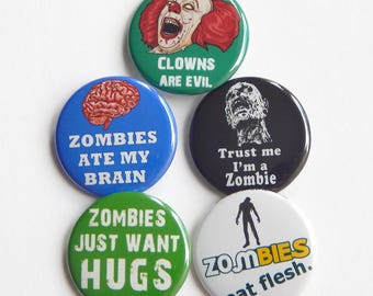 """Zombie Apocalypse Pin Set 1.5"""" Fridge Magnet, Pins For Jackets, Party Favors, Zombie Backpack Button, Pennywise Halloween Small Gift Ideas"""
