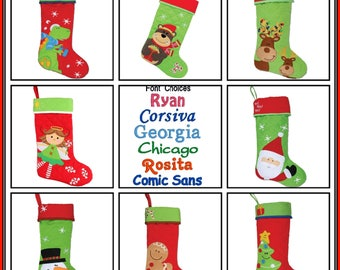 Personalized Stocking Stephen Joseph Christmas Stocking FREE Embroidered Name Reindeer Santa Snowman Dinosaur Angel Bear Gingerbread Tree