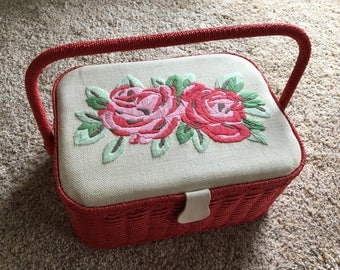 RED Vintage Wicker Sewing BASKET Storage Organizer Case Seamstress Floral Cross-stitched Top Lid Rose with Tray