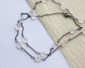 Wire Wrapped Necklace, Rose Quartz Beads, Summer Necklace, Gunmetal Necklace, Rose Quartz Necklace, Everyday Necklace, Wire Wrapped Necklace