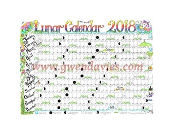 Downloadable lunar moon calendar 2018 a4 downloadable pagan for Gardening 2018 calendar