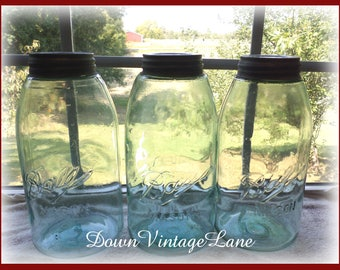 3 Blue Ball Mason Half Gallon Vintage Jars Canning Jars Fruit Jars Mason Jars