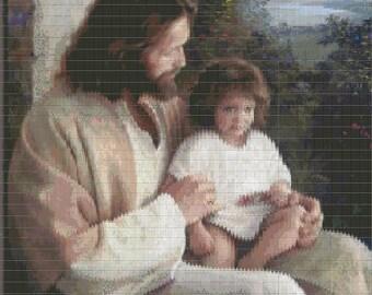 Peyote Tapestry Jesus with Child