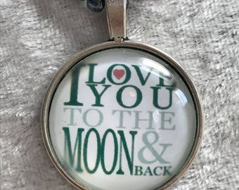 I love you to the moon and back red bead woven necklace