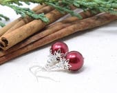 Holiday Gifts for Her, Jewelry Gifts for Her, Christmas Gifts, Holiday Earrings, Christmas Earrings, Christmas Earrings Red, Silver Earrings
