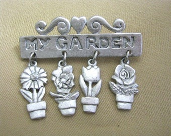 My Garden pewter tone brooch pin with flower pot dangles