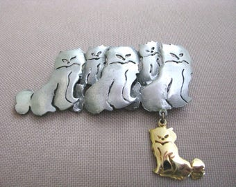 Pewter tone cat family pin brooch with dangle by Ultra Craft