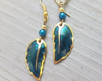 Vintage Gold and Teal Enamel Feather/Leaf Shaped 90s Earrings, Boho Gift for Her