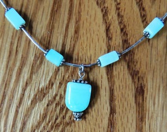 Blue Peruvian Opal and silver Necklace