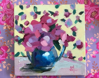Peonies in Teapot Original Floral Still Life Oil Painting by Angela Moulton 10 x 10 inches pre-order