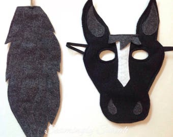 Child's Felt Horse Mask and Tail - Halloween, Costume, Dress Up