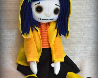 MADe TO Order Coraline Button Eye Mini Me  Inspired Creepy cute  Handmade Art doll cloth collectable Gothic rag doll home decor