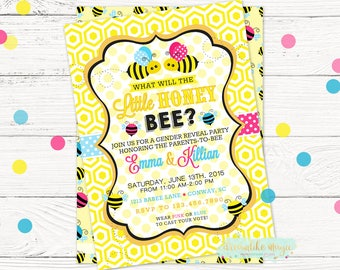 Bumble Bee Invite, Bee Gender Reveal Invitation, What Will It Bee, Gender Reveal Party Idea, Little Honey Gender Reveal Shower, Printables