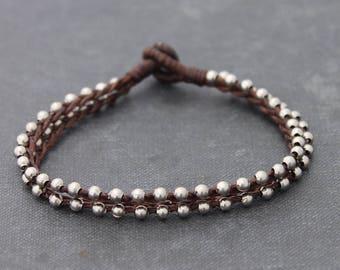 Silver Beaded Strand Bracelets Braided Brown Simple