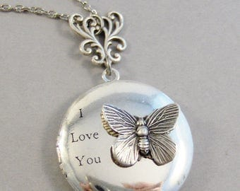 SALE Love You Butterfly,Locket,Butterfly Locket,Butterfly Jewelry,,Butterfly,Antique Locket,Antique,Woodland,Love You,Fly,Wingvalleygirldesi