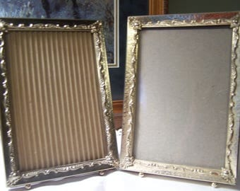 Vintage Pair 5 x 7 Ornate Gold Picture Frames with Ball Feet, 40s-50s, Easel Free Standing, Desk, Table Top